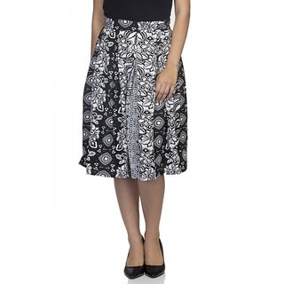 Pleated Skirts for women  Black and White floral Printed