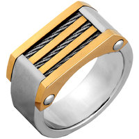 The Jewelbox Gold Rhodium Plated 316L Surgical Stainless Steel Wedding Engageent Ring