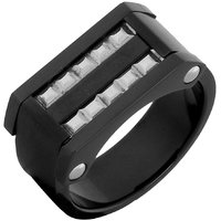 The Jewelbox Black 316L Surgical Stainless Steel Wedding Engageent Ring