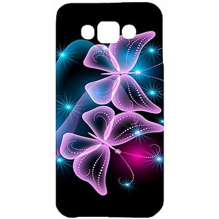 Casotec Butterflies Neon Light Design Hard Back Case Cover For Samsung Galaxy E7