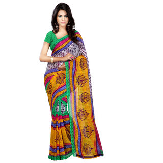 3aff1fb967d Ambaji Yellow Green Violet Colored Dani Georgette Printed Saree available  at ShopClues for Rs.299