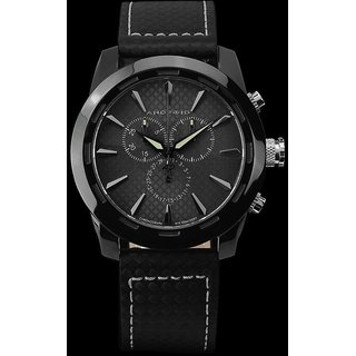 Android Caprice AD654AK 47MM Chronograph Swiss Quartz Black Dial Black Leather