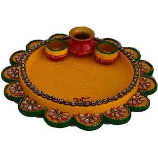 Papier-Mache Radiant Yellow Pooja Thali with Kalash