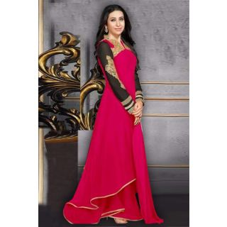Wonderful Pink Semi Stitched Party Wear Anarkali EBSFSK17704F