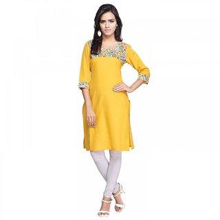 Sareemall Yellow Designer Cotton Kurti AYKG1008