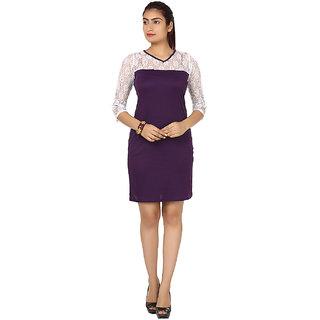 Stylish Dress by Klick DRS1011 White Purple