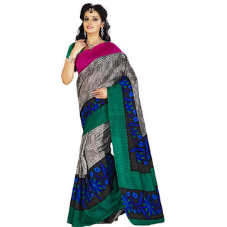 Lookslady Black Silk Printed Saree With Blouse