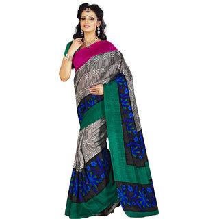 Lookslady Printed Grey  Black Bhagalpuri Silk Saree