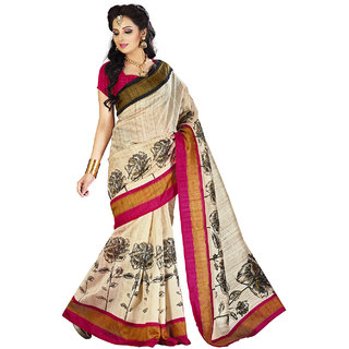 Lookslady Printed Beige  Grey Bhagalpuri Silk Saree