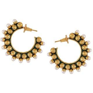 The Jewelbox Meena Chaand 18K Gold Plated Dark Green Meenakari Pearl Stud Earring For Women