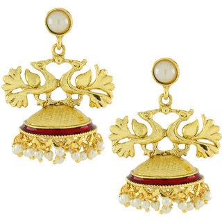 The Jewelbox Peacock Crown Gold Plated Maroon Meenakari Jhumki Earring For Women