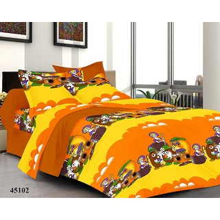 valtellina India Mango Cartoons Double Bed Sheet with 2 Pillow(YTD-045)