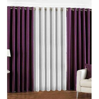 Fabbig Purple  White Bamboo Curtain (Set Of 3)