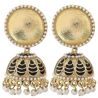 The Jewelbox Antique Meenakari Gold Plated Black Jhumki Earring For Women