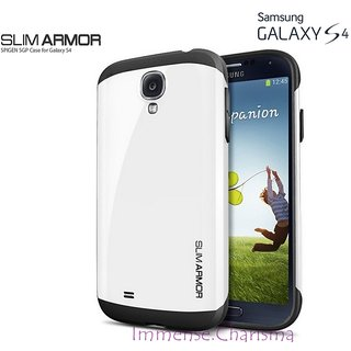 Samsung Galaxy S4 I9500 SPG SPIGEN Slim Armor Back Case Cover Hybrid WHITE COLOR