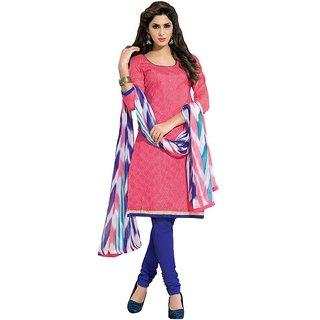 Parisha Blue And Pink Polycotton Embroidered Salwar Suit Dress Material