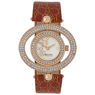Elegance Designed Rotating Dress IP Rose Gold Watch EFL-17-Rose-Gold-Brown