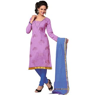 Parisha Blue And Pink Polycotton Embroidered Salwar Suit Dress Material
