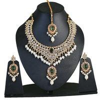 Touchstone Golden & Green Kundan Necklace Set With Maang Tika (PWNSL263-01KE-Y)