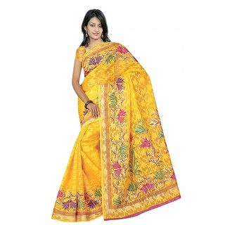DesiButik's Yellow Patola Jacquard Saree with Blouse VSM344