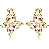 Butterfly 14K Yellow Gold Over Sapphire Sterling Silver Stud Earrings For Womens