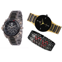 Jack Klein Digital + Jack Klein Black Round Dial + Metal Led Watch For Boys, Men
