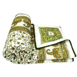 Marwal Green Jaipuri Hand Made Block Print  Double Bed Quilts