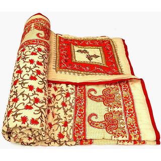 Marwal Jaipuri Hand Made Block Print Red Singal Bed Quilts