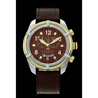 Android Naval-2 AD466BGBN 48MM Swiss Quartz Chronograph Brown Dial Brown Leather