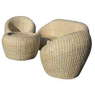 Rattan Cane Sofa Set with Table