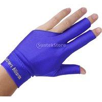 Professional Billiard Left Hand Three Finger Open Fingertip Glove Blue