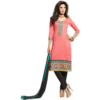 Kvsfab Pink Cotton Embroidered Suit (1566 Nach-4)