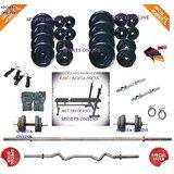 Bodyfit 30 Kg Home Gym+Inc/Dec/Flat Bench+4 Rods(1 Zig Zag)+Gloves+W.Band
