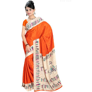 DesiButik's  Orange Crepe Saree  with Blouse VSM2212