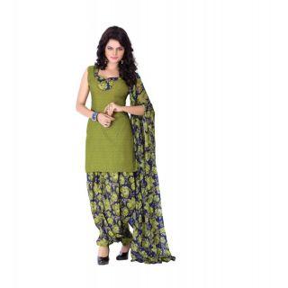 BanoRani Mehendi Color PolyCotton UnStitched Patiyala Dress Material