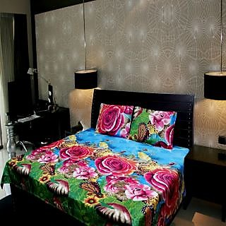 Akash Ganga Floral Double Bedsheet (Super Soft) with 2 Pillow Covers (KM521)