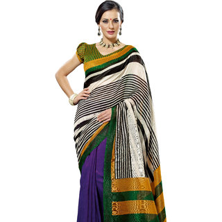 Prafful Black-Violet Bhagalpuri Silk Saree With Unstiched Blouse GS71169