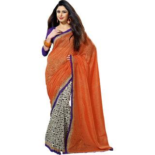 Prafful Peach-White Bhagalpuri Silk Saree With Unstiched Blouse GS71170