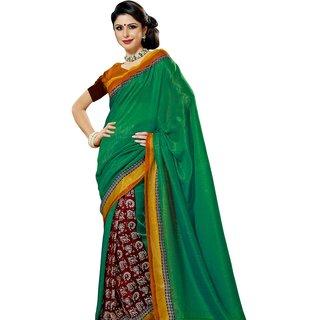Prafful Green-Red Bhagalpuri Silk Saree With Unstiched Blouse GS71173