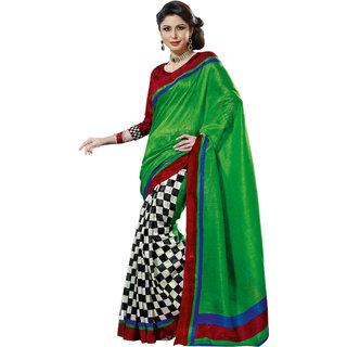 Prafful Green Bhagalpuri Silk Saree With Unstiched Blouse GS71175