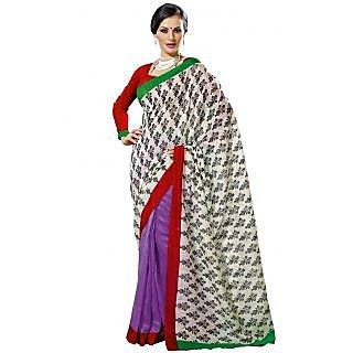 Prafful White-Violet Bhagalpuri Silk Saree With Unstiched Blouse GS71176