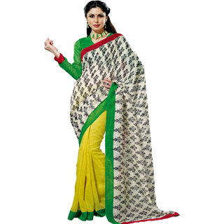 Prafful White-Yellow Bhagalpuri Silk Saree With Unstiched Blouse GS71177