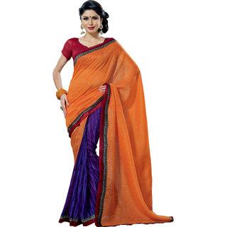 Prafful Peach-Violet Bhagalpuri Silk Saree With Unstiched Blouse GS71178