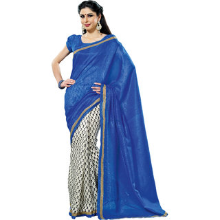 Prafful Blue-White Bhagalpuri Silk Saree With Unstiched Blouse GS71184