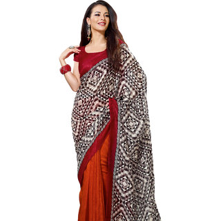 Prafful Brown-Orange Bhagalpuri Silk Saree With Unstiched Blouse GS71191