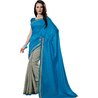 Prafful Blue-White Bhagalpuri Silk Saree With Unstiched Blouse GS71196