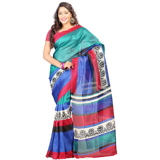Prafful Multi Colour Bhagalpuri Silk Saree With Unstiched Blouse GS98124