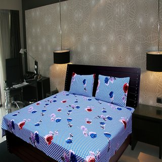 Akash Ganga Floral Double Bedsheet (Super Soft) with 2 Pillow Covers (KM533)