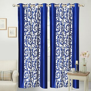 Fabbig Royal Blue Fancy Printed Design Curtains (Set Of 2)