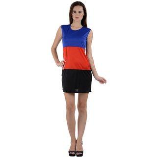 Stylish Klick Short Dress DRS1031-Blue-Red-Black